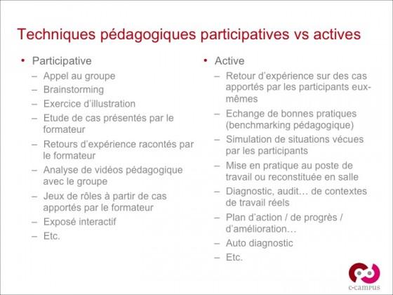 Quelques exemples de techniques pédagogiques participatives vs actives
